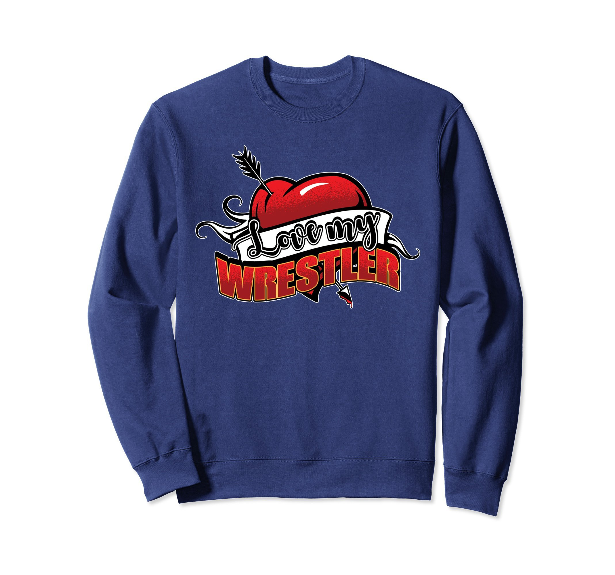 Unisex Wrestling Sweatshirt - Love My Wrestler Sweater 2XL Navy by Wrestling Shirt by Crush Retro