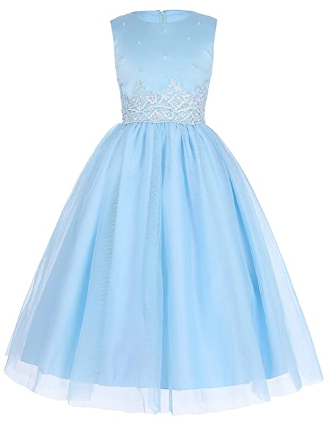 GRACE KARIN Niña Princesa Vestido de la Boda de Dama de Honor Color Azul 2-