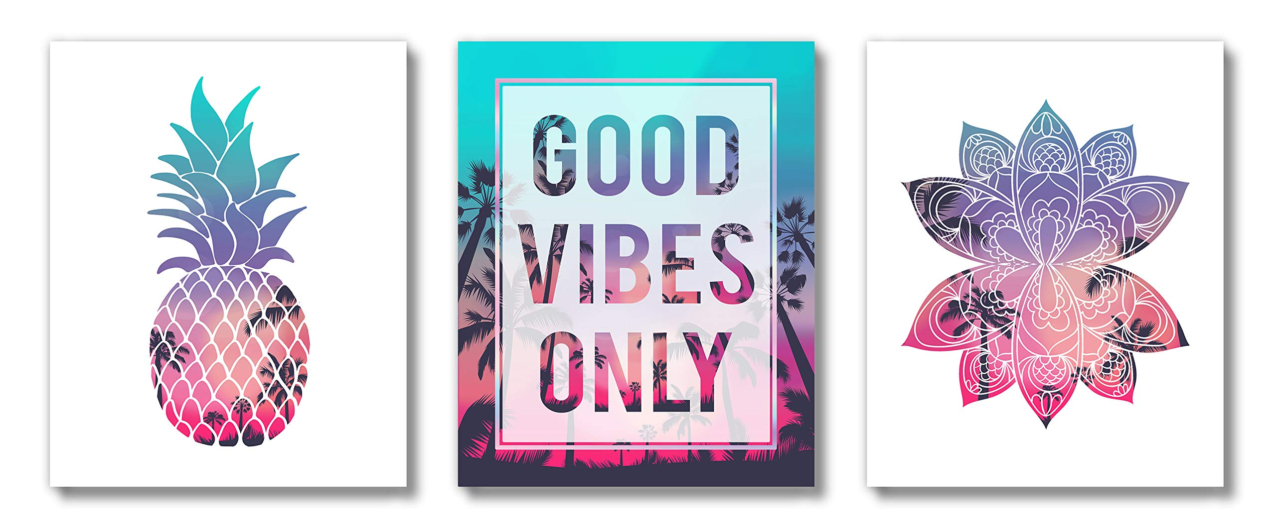 Brooke & Vine - Beach Teen Girl Room Wall Decor Art Prints - (UNFRAMED 8x10) VSCO Inspirational Wall Art, Motivational Quotes Posters for Kids, Tween Women Office Bedroom, Dorm, Cubicle, Desk (Good Vibes Only)