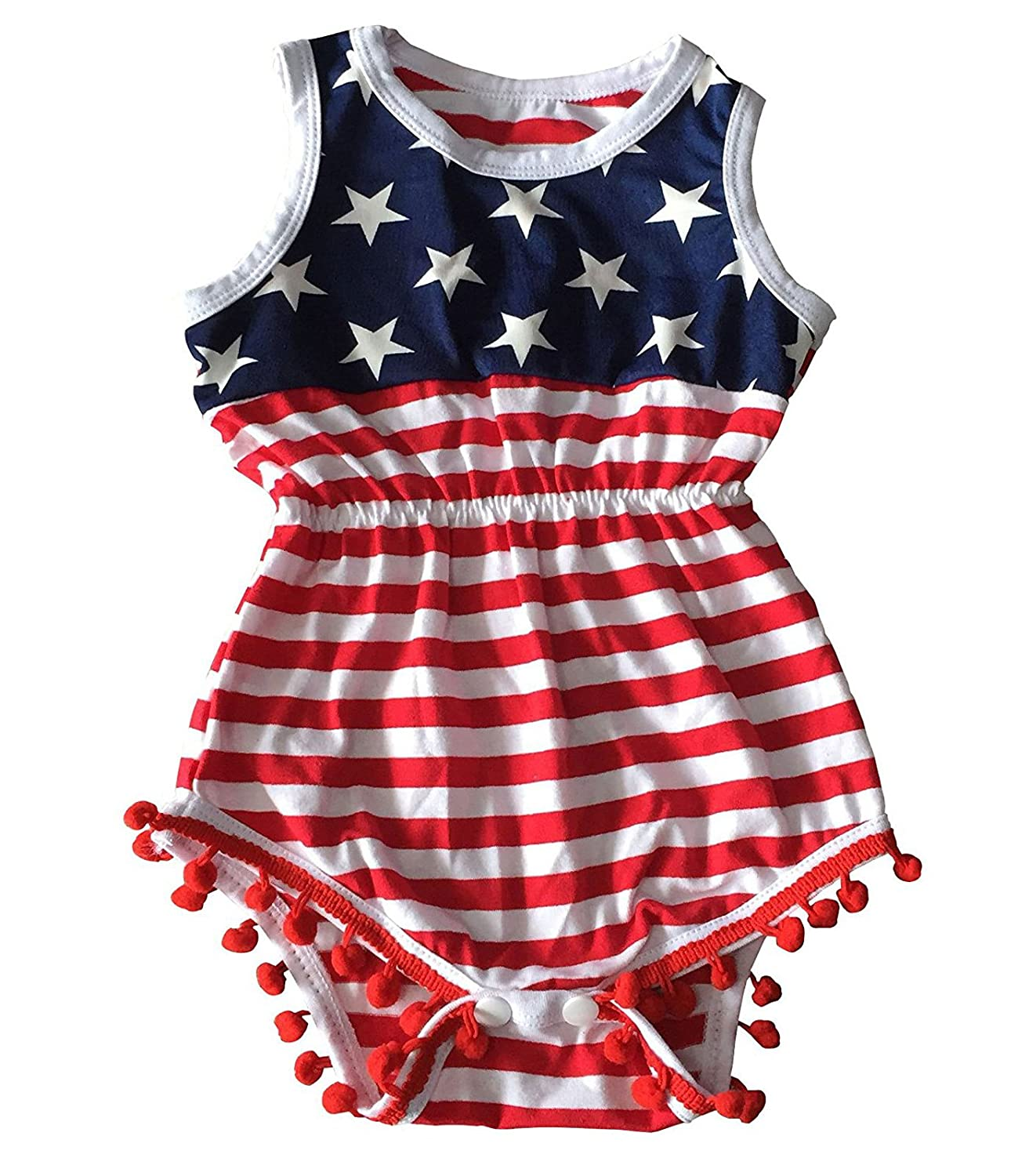 AMOUR TIME 4th Of July Romper Toddler Baby Girls American Flag Tassel Outfits With Headband