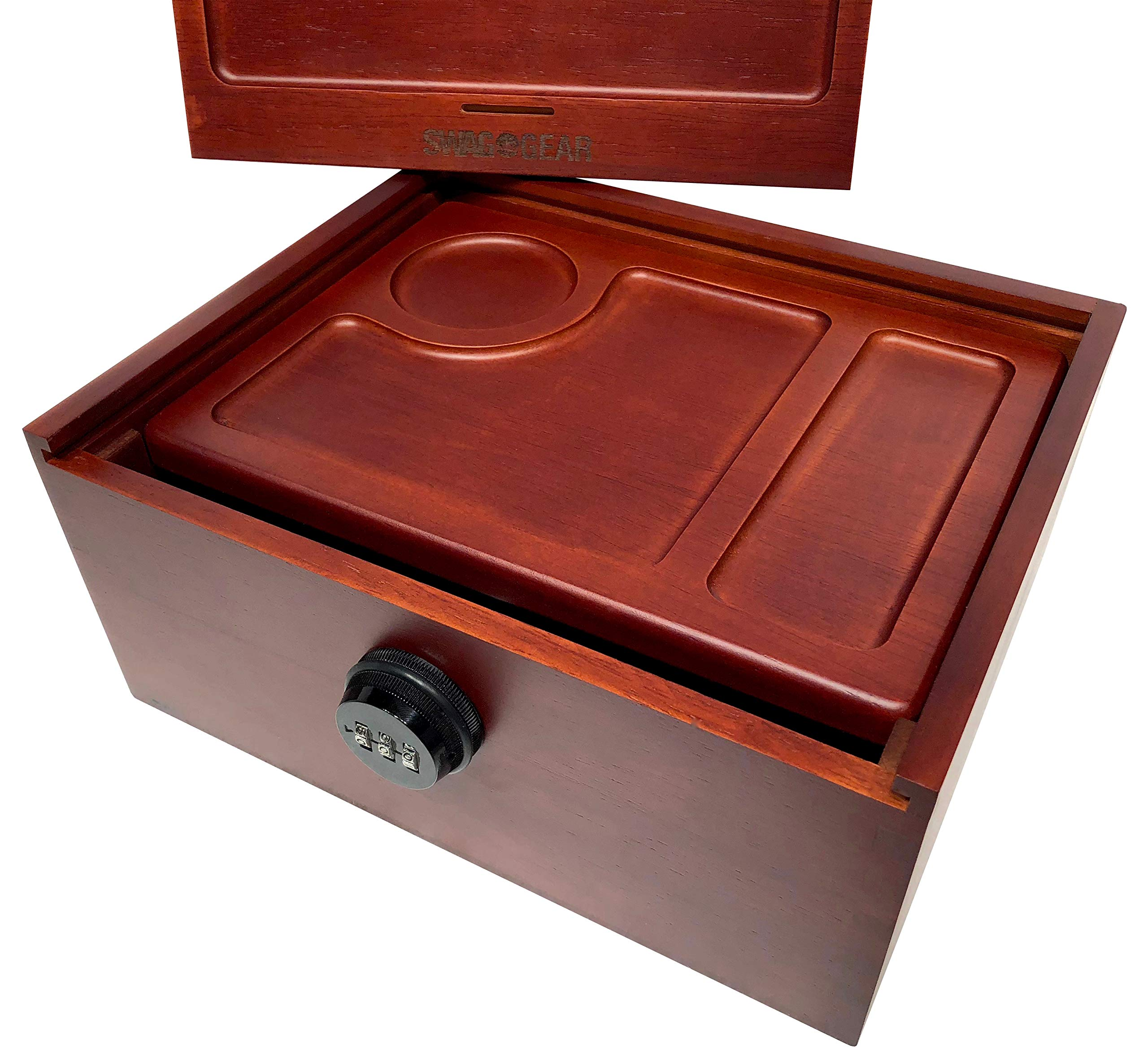 Locking Stash Box with Rolling Tray - Luxury Stash Box with Lock - Large Safe Box with Rolling Trays Stash Boxes (Box with Extra Tray) by SwagGear (Image #2)