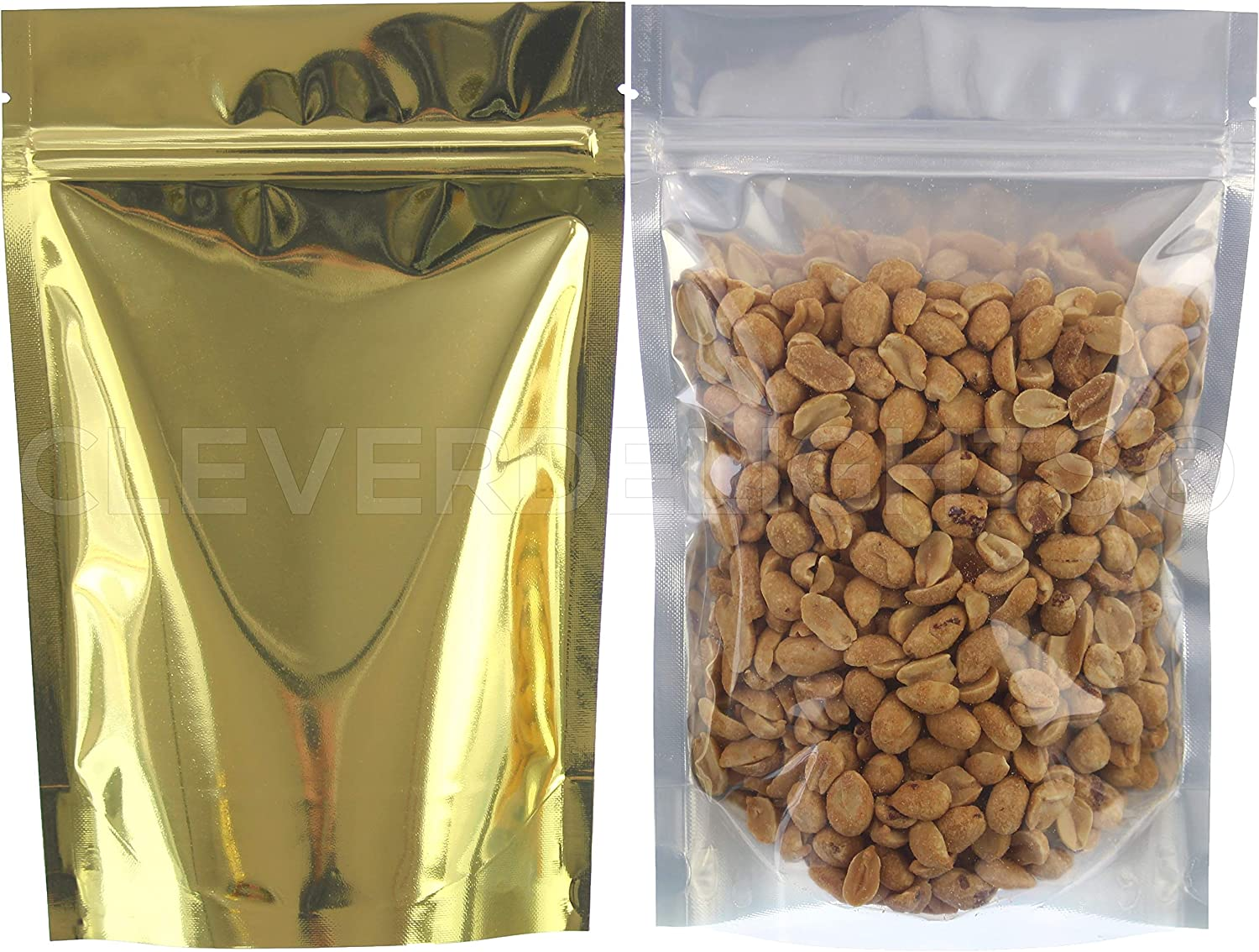 CleverDelights Gold/Clear Stand Up Pouches - 8oz - 50 Pack - 6