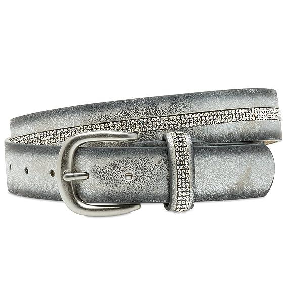 CASPAR GU307 Damen metallic Glitzer Strass Gürtel Jeansgürtel 3 cm breit