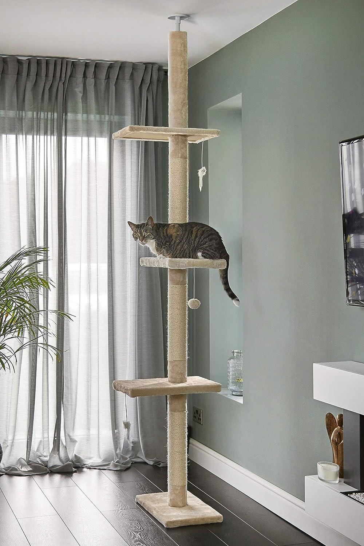 Árbol Rascador para Gatos de 240cm-288cm, Rascador de Suelo a Techo para Gatos, Poste Escalador de Sisal Natural, Árbol para Gatos Extensible, Arbol Rascador de Actividades con, Color Beige