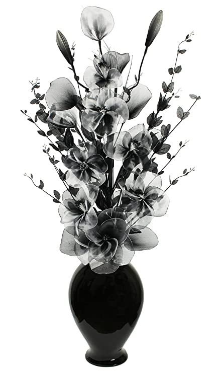 Tall floor vase for living room or hall with black and white tall floor vase for living room or hall with black and white artifical flower arrangement mightylinksfo