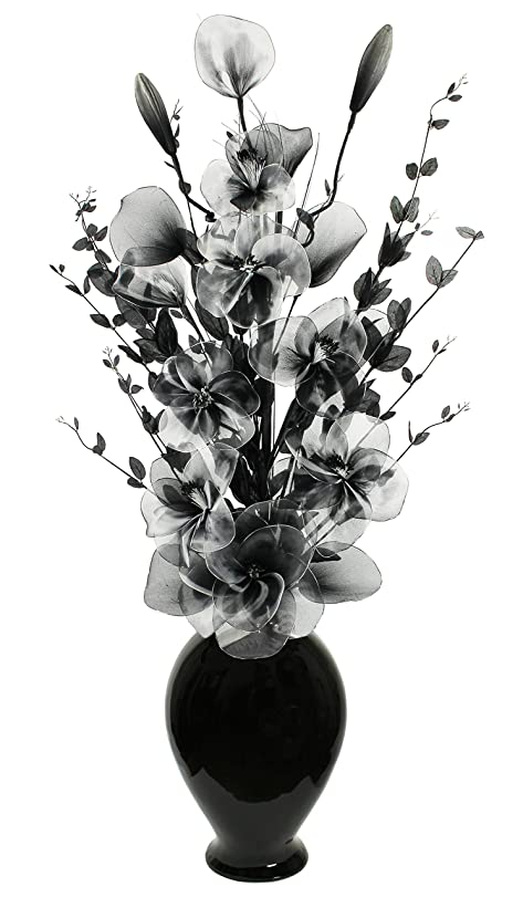Tall Floor Vase For Living Room Or Hall With Black And White Artifical Flower Arrangement