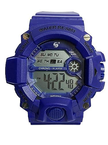 Reloj Digital de Hombre con diseño Deportivo, acuático de Uso Diario multifunción con cronometro Alarma y Fecha. (Azul Oscuro): Amazon.es: Relojes