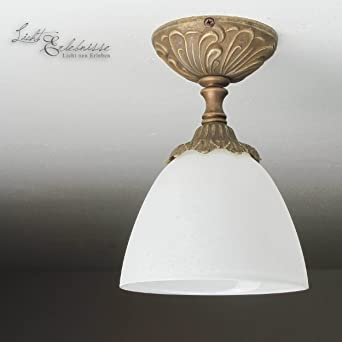 Deckenleuchte Bronze Weiss Glas Echt Messing Antik Jugendstil E14 40w