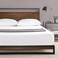 Zinus Ironline Metal and Wood Platform Bed with Headboard / Box Spring Optional / Wood Slat Support (Full)