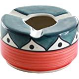 SouvNear Ash Tray Handmade Hand Painted with 3 Cigarette Holder Slots for Outdoors & Indoors - Round Colorful Ceramic Ashtray for Office & Bar - Perfect Gift for Smokers