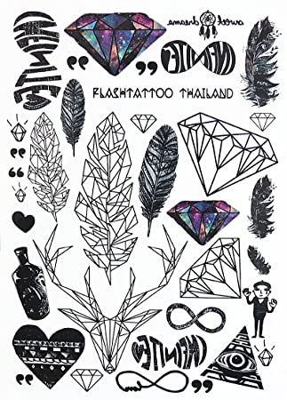 Grafische Tattoos Geometrische Tattoos Flash Tattoo Feder Diamand Hirsch Lc871