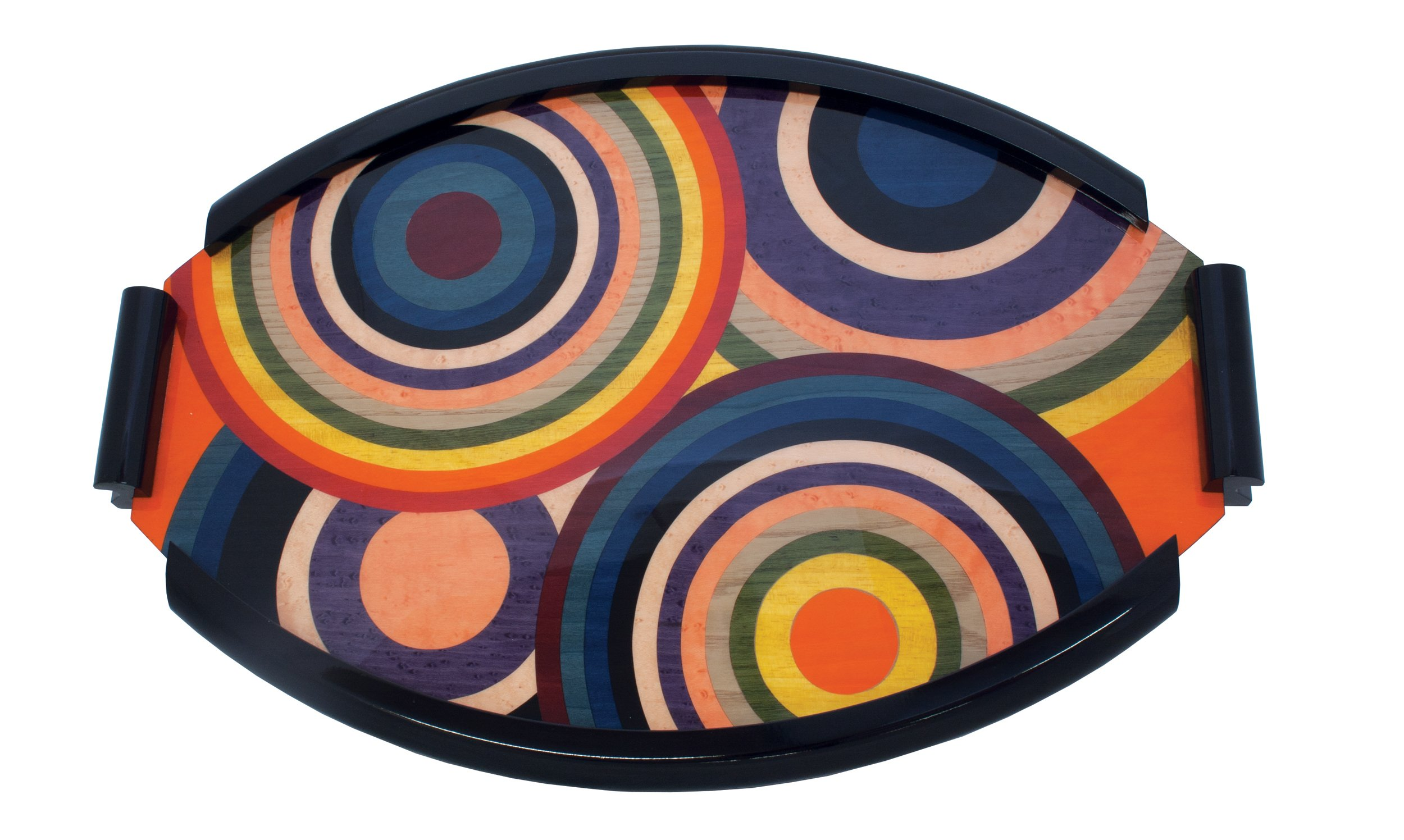 Ercolano Multicolor Circles 44'' x 32'' Inlaid Luxury Jewelry Vanity Tray Made In Italy