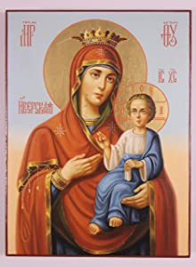 """Our Lady of Iveron Russian Orthodox Icon (24x18 cm), Icon of the Mother of God """"Iveron"""", Panagia Portaitissa, Handpainted icon, Religious painting"""
