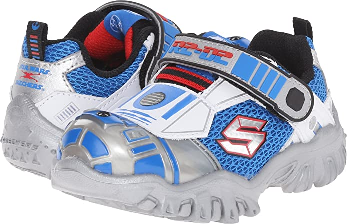 Toddler Skechers StarWars Astromech Lights 97022N Silver Blue 100/% Authentic New