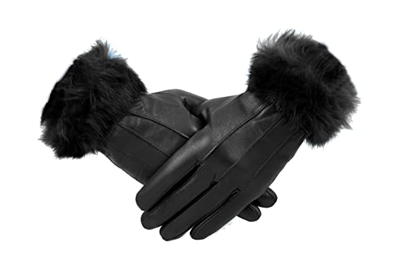 004fd55d7887c Womens 100% Leather Winter Gloves With Fur Trim Fleece Lined Warm Ladies ( BLACK,