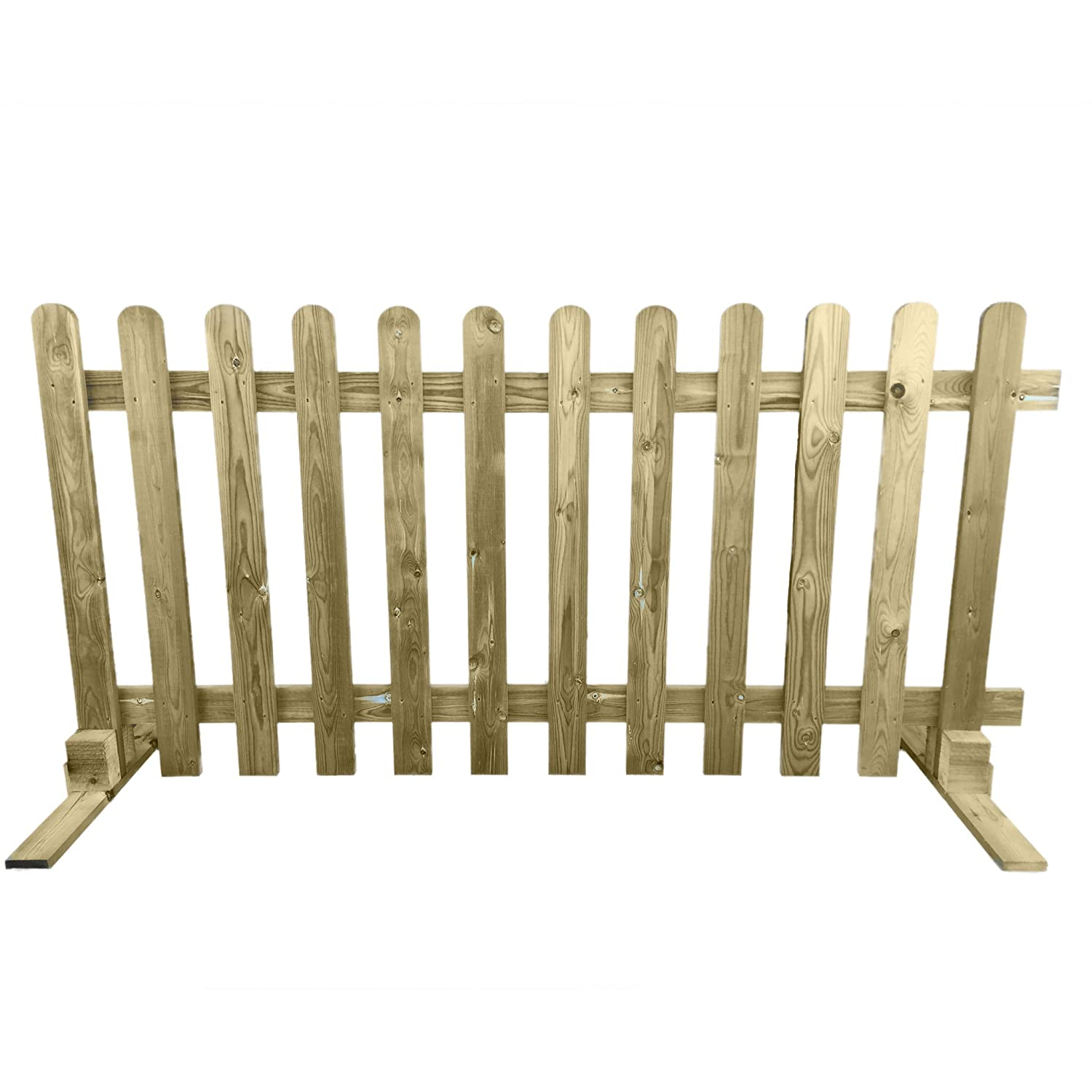 Portable Freestanding Treated Wooden 6ft Picket Fence Panel 3ft High (1) Ruby