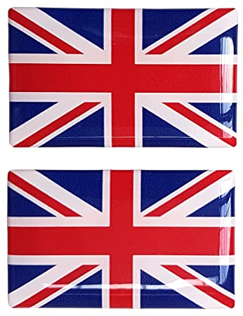 Union jack british flag sticker decal badge 3d resin gel domed 2 pack 52mm x 32mm