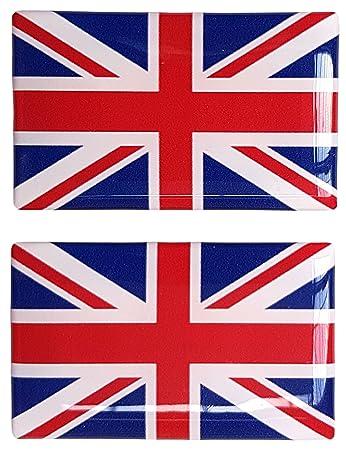Union jack british flag sticker decal badge 3d resin gel domed 2 pack 52mm x 32mm