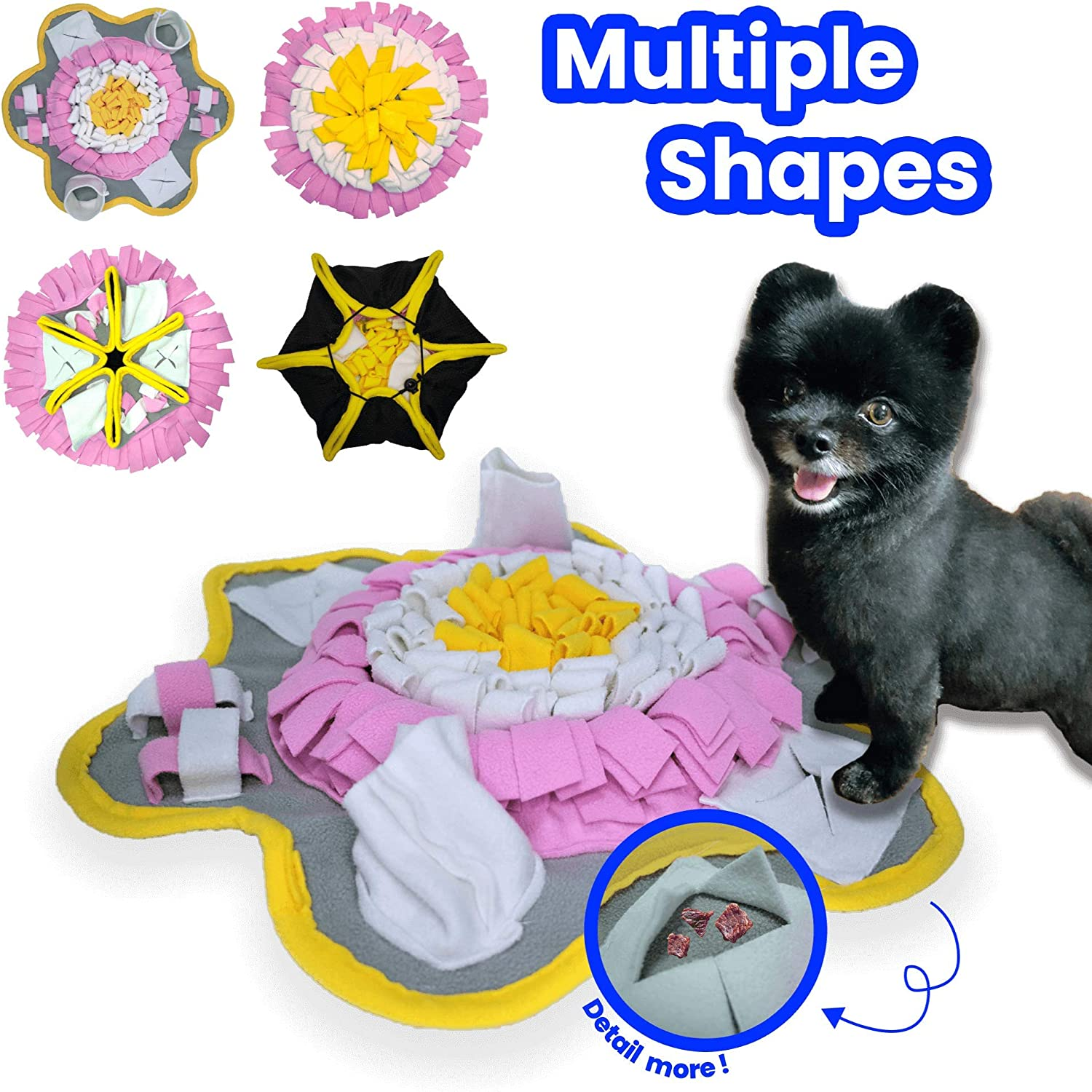 PYOGO Snuffle Mat for Dog - Indoor Activity for Boredom - Slow Feeding Food Bowl - Encourage Foraging Skill - Interactive Training Puzzle Toy - Washable Durable
