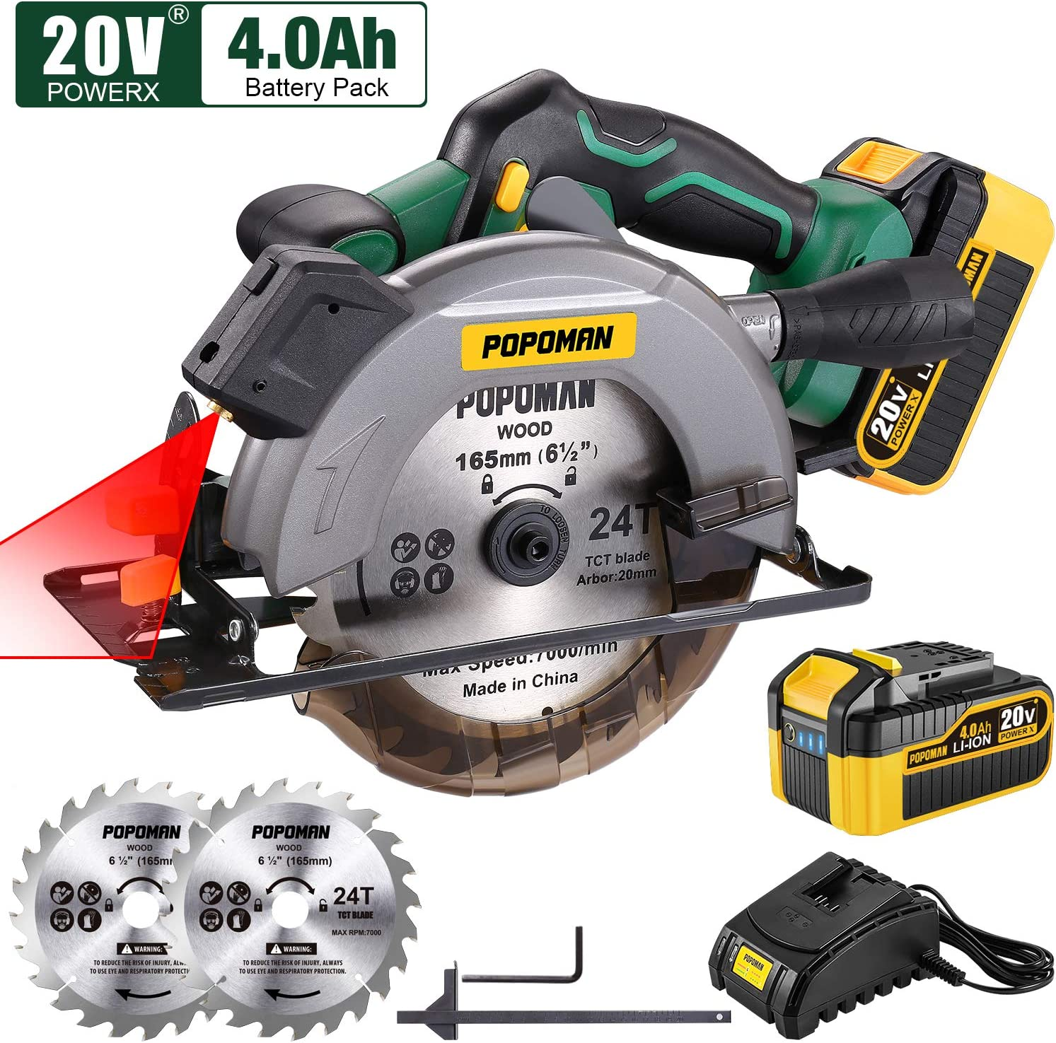POPOMAN Cordless Circular Saw, 4300 RPM, 20V 4.0Ah Battery, Fast Charger, 2 x Blade(6-1/2