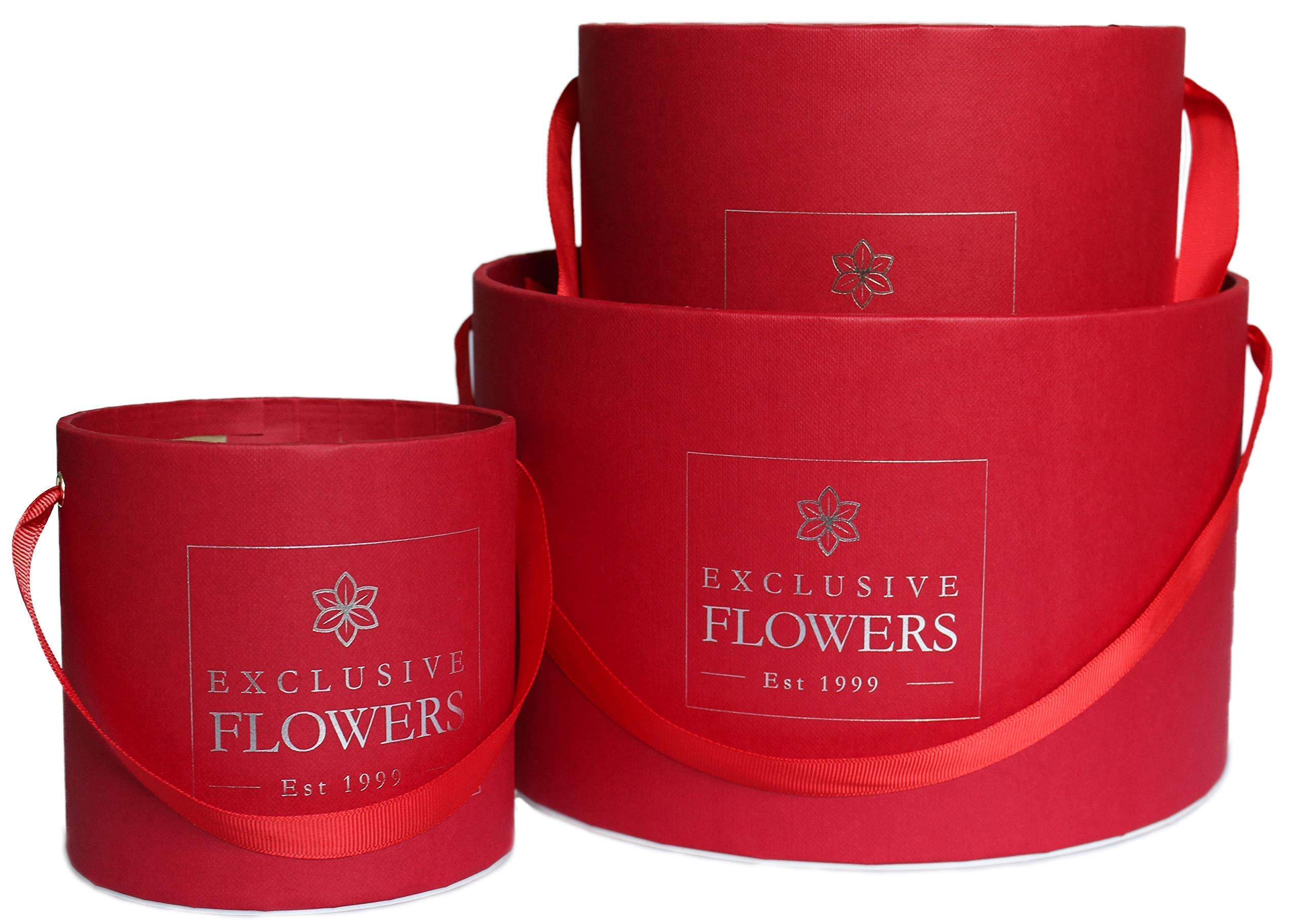 Gift Box Round Red Silver Elegant Flower Box Wedding Decor 3 Sizes Pack (S/M/L) Handmade in Europe 4 available colors ExclusiveFlowers