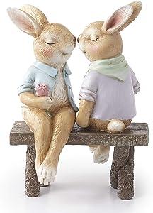 The Lakeside Collection Bunny Couple on a Bench Garden Statue - Spring Season Landscaping Accent