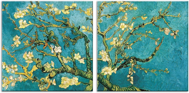LuxHomeDecor Cuadros Vincent Van Gogh Almendro en Flor 2 Piezas 50 x 50 cm Impresión sobre Lienzo con Marco de Madera Arte Decorativo