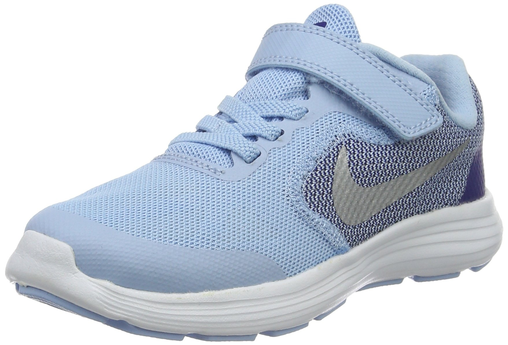 NIKE Kids' Revolution 3 (Psv) Running-Shoes, Bluecap/Metallic Silver/Deep Royal Blue, 1 M US Little Kid