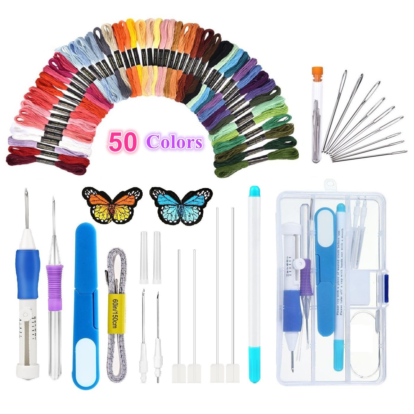Magic Embroidery Pen Punch Needle,Embroidery Pen Set,Embroidery Patterns Punch Needle Kit Craft Tool,Including 50 Color Threads for DIY Threaders Sewing Knitting Topus