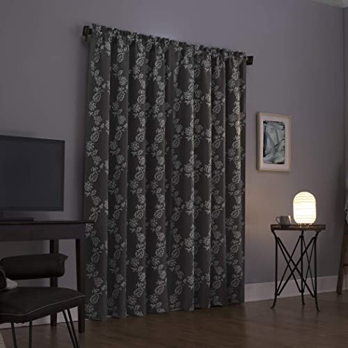 Sun Zero Laurita Floral Embroidery Theater Grade Extreme 100 Blackout Rod Pocket Curtain Panel, 52 x 95 , Steel Gray