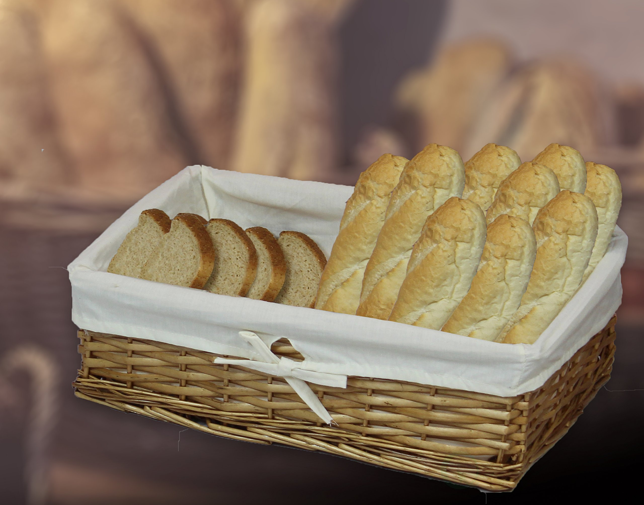 Vintiquewise Large Willow Basket with Fabric Lining (1 Large Basket)