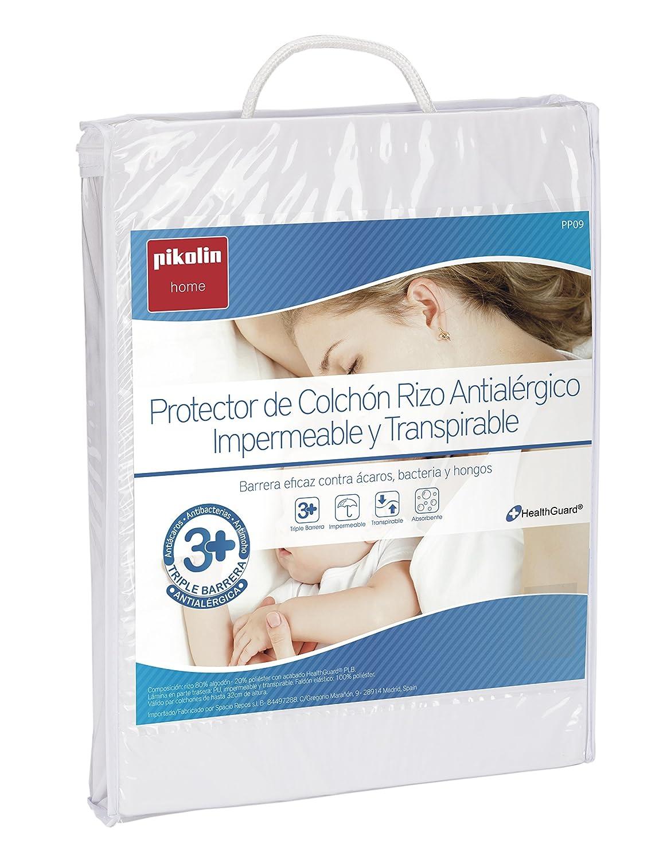 Pikolin Home - Protector de colchón rizo para cuna, antialérgico, antiácaros, antibacterias y antimoho, impermeable y transpirable, cuna - 60 x 120 cm ...