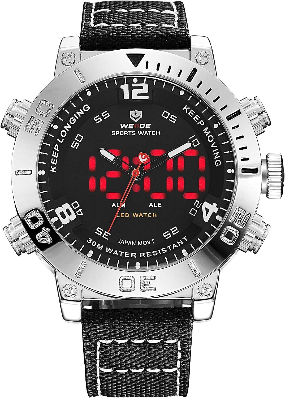 WEIDE Men Analog Digital Quartz Watch Waterproof LED Dual Time Watches Business Dress Wristwatch for Men Sport Back Light Bracelet Buckle Hook