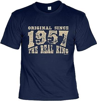 T-Shirt zum Geburtstag: Original since 1957. The real King - Tolle  Geschenkidee - Baujahr 1957 - Farbe: navyblau: Amazon.de: Bekleidung