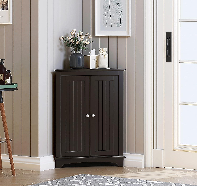Spirich Home Floor Corner Cabinet with Two Doors and Shelves, Free-Standing Corner Storage Cabinets for Bathroom, Kitchen, Living Room or Bedroom, Espresso