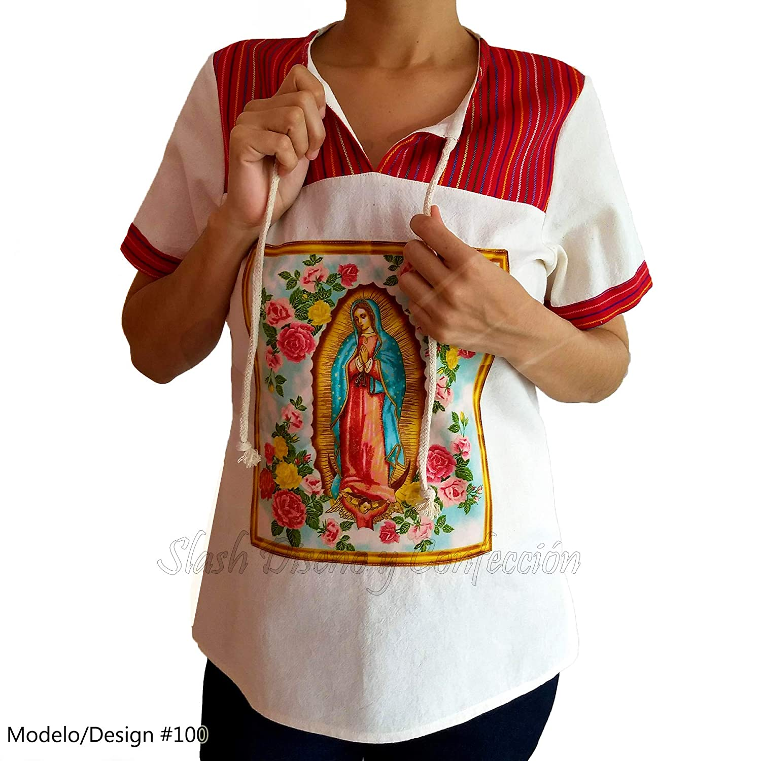 Blouse Raw Coarse Cotton Manta Our Lady of Guadalupe Virgin Mary Tailored Custom Handmade Plus Size