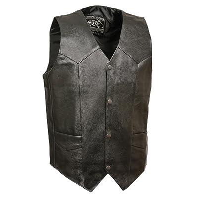 Event Biker Leather Men's Promo Basic Leather Vest (Black, XX-Large): Automotive