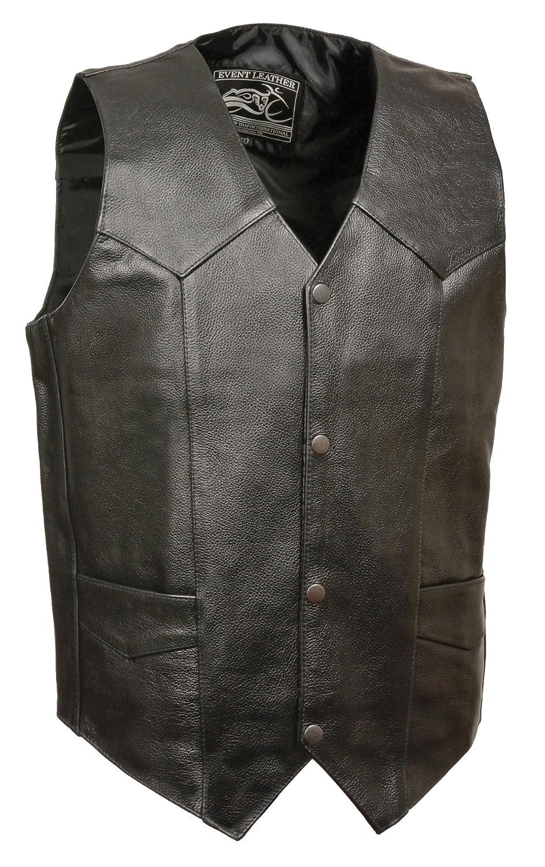Event Biker Leather Mens Promo Basic Leather Vest Black, 5X-Large