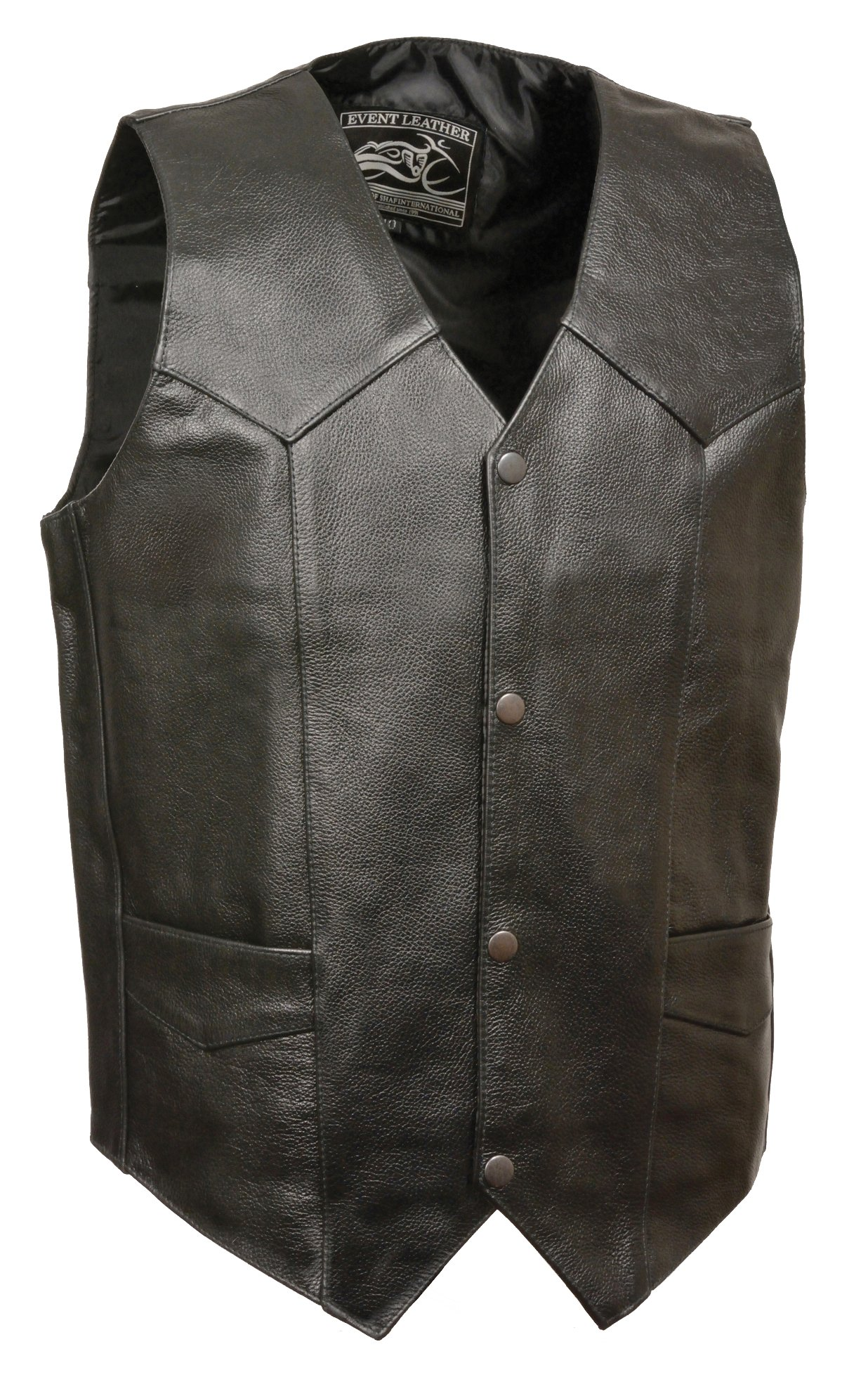 Event Biker Leather Men's Promo Basic Leather Vest (Black, XX-Large)