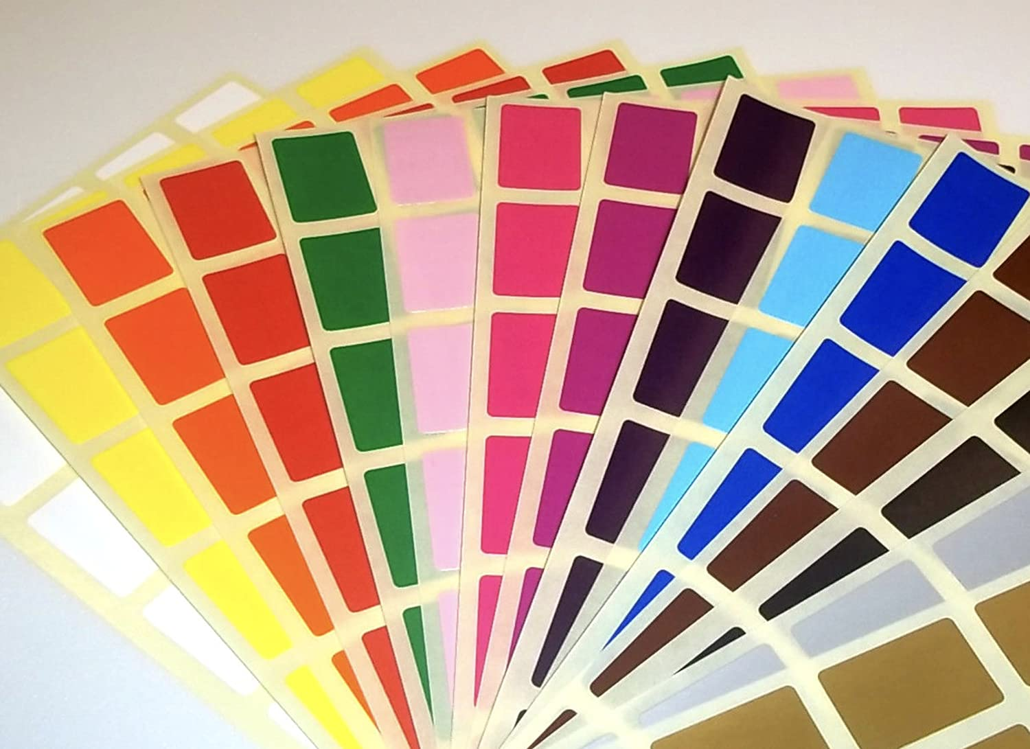 10 x 20mm Rectangle - Assorted / Mixed packs of colour code rectangular stickers / coloured sticky labels / dots (600) Audioprint