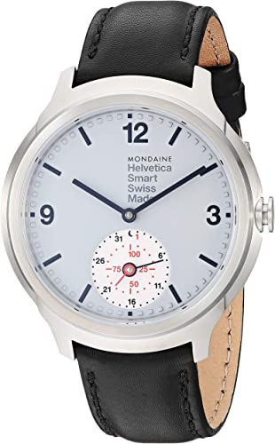 Mondaine Smartwatch Helvetica No.1 Wrist Watch for Men (MH1B2S80LB) Swiss Made, Black Leather Strap, Silver Stainless Steel Case, Silver Dial