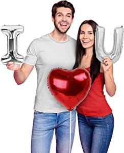 Valentines Day Mylar Love Balloons Decorations Silver and Red I Heart U Letter Balloon Kit Will You Marry Me Proposal Engagement Party Decorations Wedding Decor Anniversary Bridal Shower Supplies