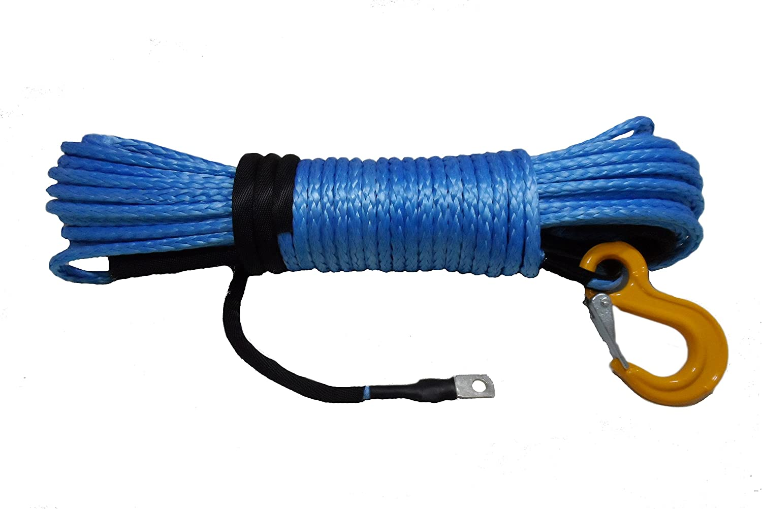 California Cordage 1//4 x 50 Green DynaTech UHMWPE Winch Rope with G80 Forged Hook