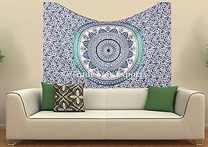 Indian Ombre Mandala Twin Tapestry,Hippie Bedspread, Decorative Wall Hanging, Bohemian Cotton Bedding, Ethnic Wall Art, Boho Dorm Decor