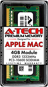 A-Tech 4GB DDR3 1333MHz RAM for Apple MacBook Pro (Early/Late 2011), iMac (Mid 2010, Mid/Late 2011), Mac Mini (Mid 2011) | PC3-10600 SO-DIMM 204-Pin Memory Upgrade Module