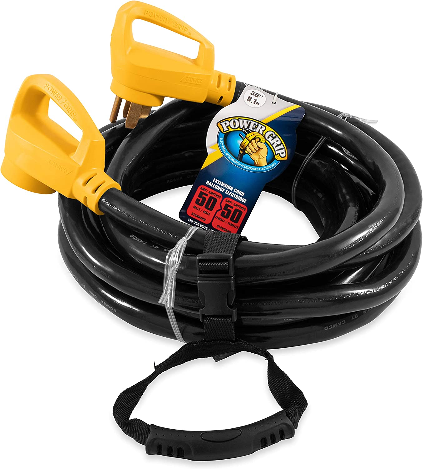 Camco 30' PowerGrip Heavy-Duty Outdoor 50-Amp Extension Cord for RV and Auto | Allows for Additional Length to Reach Distant Power Outlets | Built to Last (55195): Automotive
