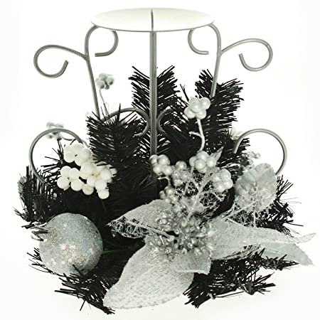 black silver decorated table centre piece with single pillar candle holder christmas decoration size - Black And Silver Christmas Decorations