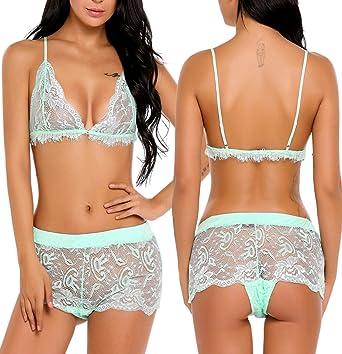 726f4d882ca Avidlove Women Lingerie Sleepwear Lace Bra and Panty Set Pajama chemises  Sexy Camisole Shorts Set Underwear