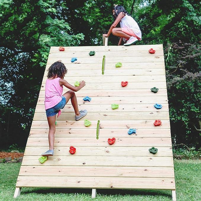 Odoland 16 pzas Presas de Escalada Conjunto para Niños, Juego de Asas de Escalada Incl. Escalera de Escalada, Asas de Escalada y Pernos de Montaje, ...