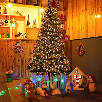 goplus 75 ft prelit christmas tree premium spruce hinged artificial led tree w 750 clear